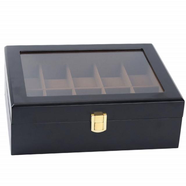 Cutie pentru 10 Ceasuri, Lemn si sticla, Negru, 26X20X8.5 CM 3