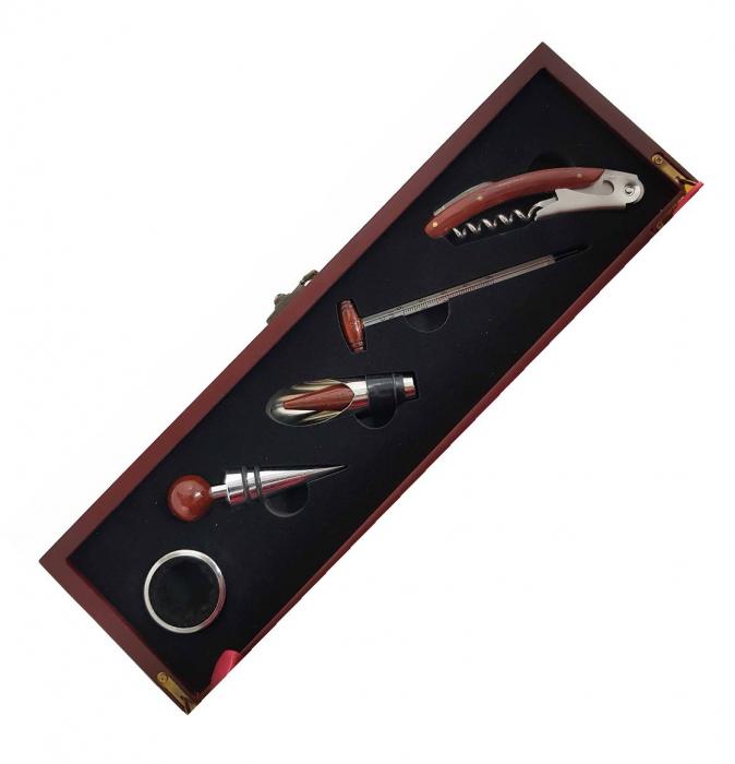 Cutie pentru Sticla de Vin cu 5 accesorii, Lemn 1