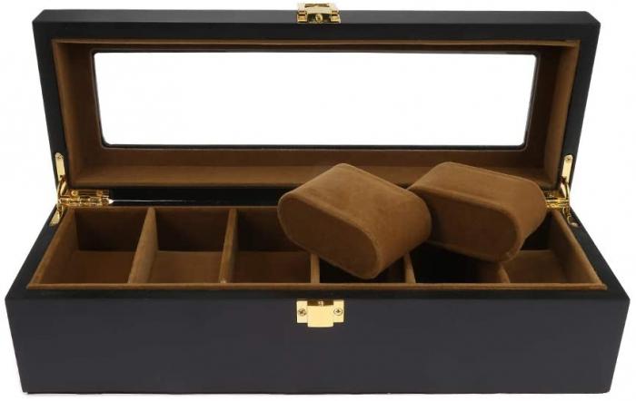 Cutie din Lemn pentru 6 Ceasuri, Lemn si Sticla, 31x11x8.5 CM, Negru 1