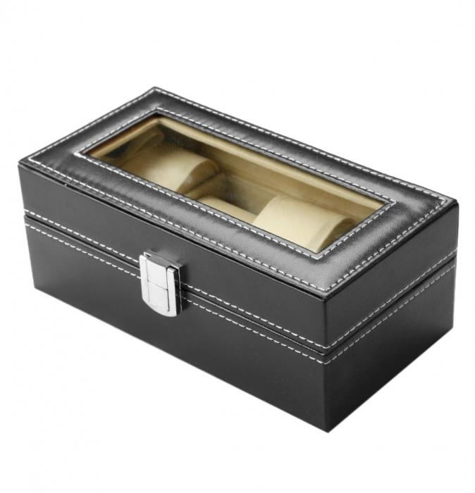 Cutie pentru 4 Ceasuri din piele ecologica 20x11x8 CM 1