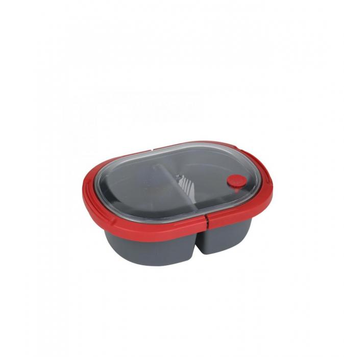Cutie alimente LUNCH BOX ovala, Rosu, 2 compartimente,800 ml 0