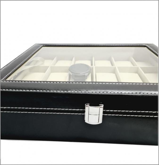 Cutie pentru Ceasuri, 18 spatii, Piele ecologica si catifea, Negru 4