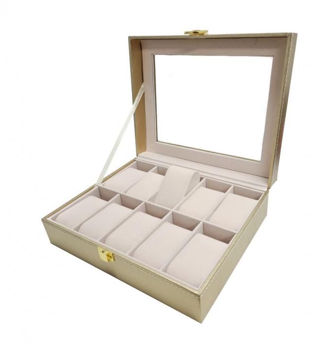 Cutie pentru Ceasuri si Bijuterii, 10 spatii, Auriu, 25x20x8 CM [2]