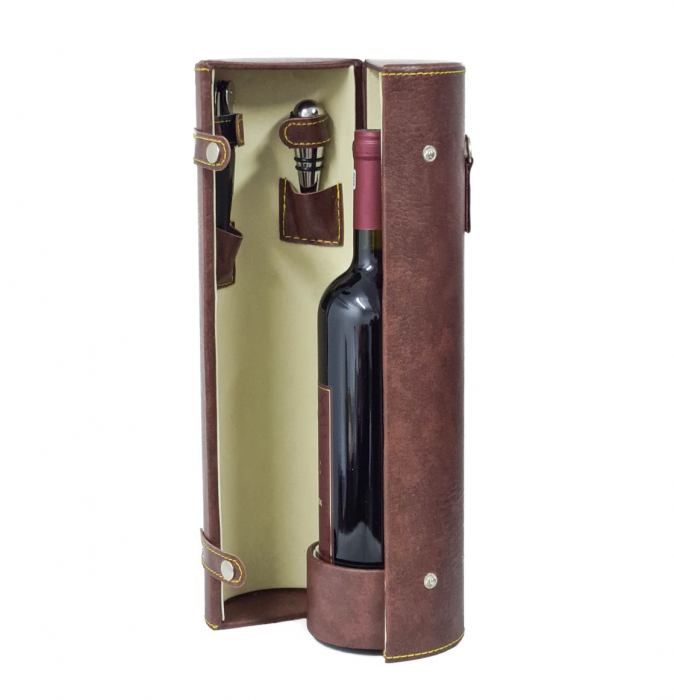 Cutie pentru Sticla de Vin cu 2 accesorii, piele ecologica, 36x11 CM, Maro 0