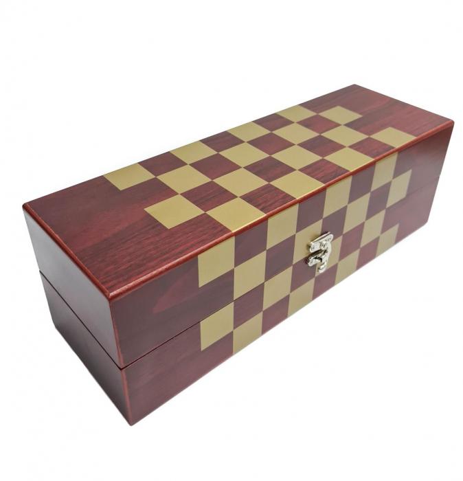 Set din Lemn cutie pentru Vin si set pentru Sah, 36x12x12 CM 1