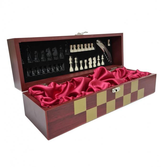 Set din Lemn cutie pentru Vin si set pentru Sah, 36x12x12 CM 0