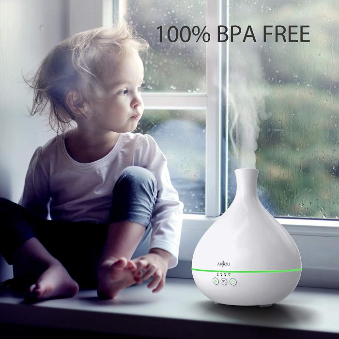 Difuzor ANJOU Aromaterapie cu ultrasunete, 500 ML, LED, Alb [2]
