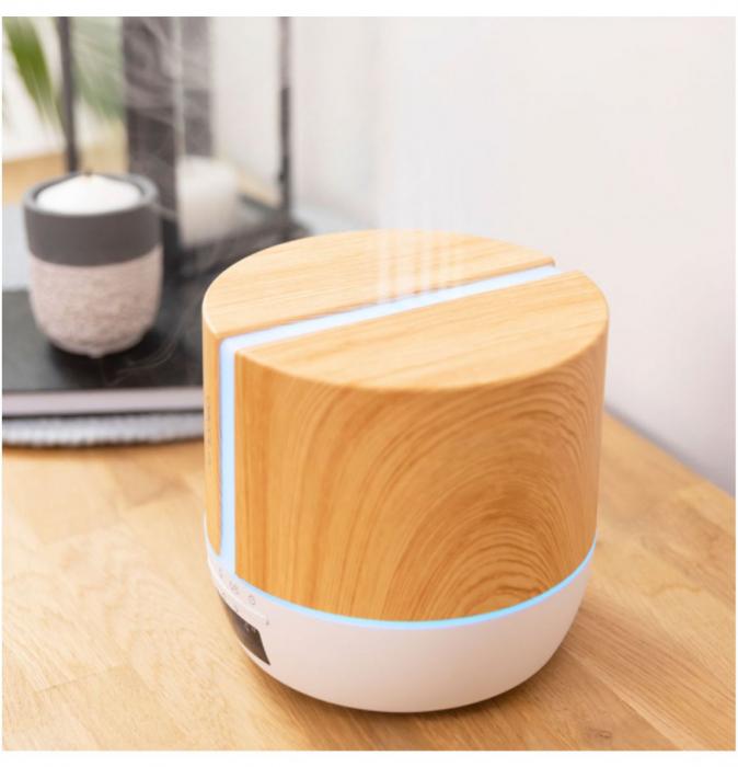 Difuzor aroma cu Ultrasunete Smart PureAroma 500 ml, control Smartphone, 7 culori LED, boxa incorporata - Stejar 2