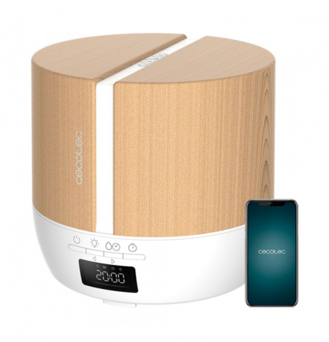 Difuzor aroma cu Ultrasunete Smart PureAroma 500 ml, control Smartphone, 7 culori LED, boxa incorporata - Stejar 0