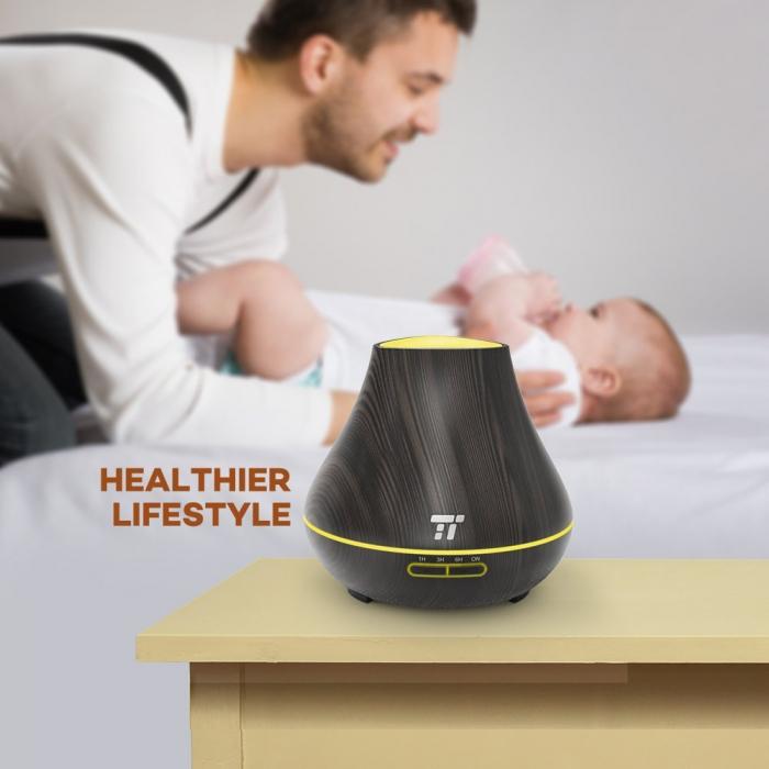 Difuzor Aromaterapie cu ultrasunete, oprire automata, TaoTronics, Maro, 400 ml 2