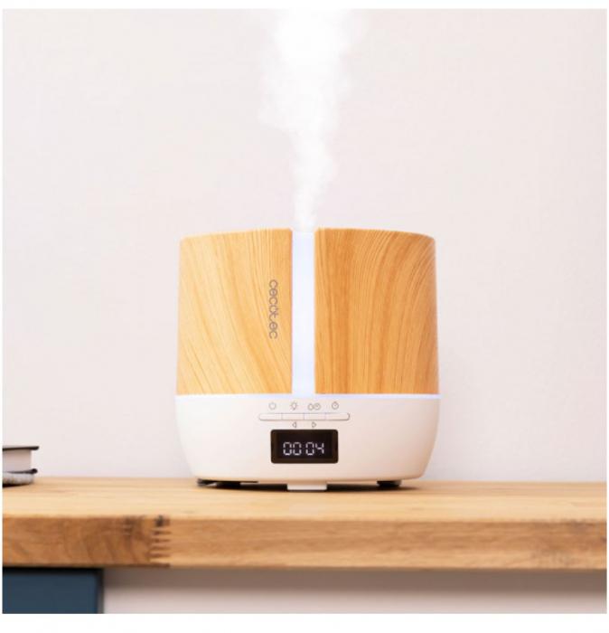 Difuzor aroma cu Ultrasunete Smart PureAroma 500 ml, control Smartphone, 7 culori LED, boxa incorporata - Stejar 5