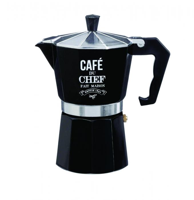 Espressor de cafea cu capacitate de 6 cesti, Aluminiu - Negru