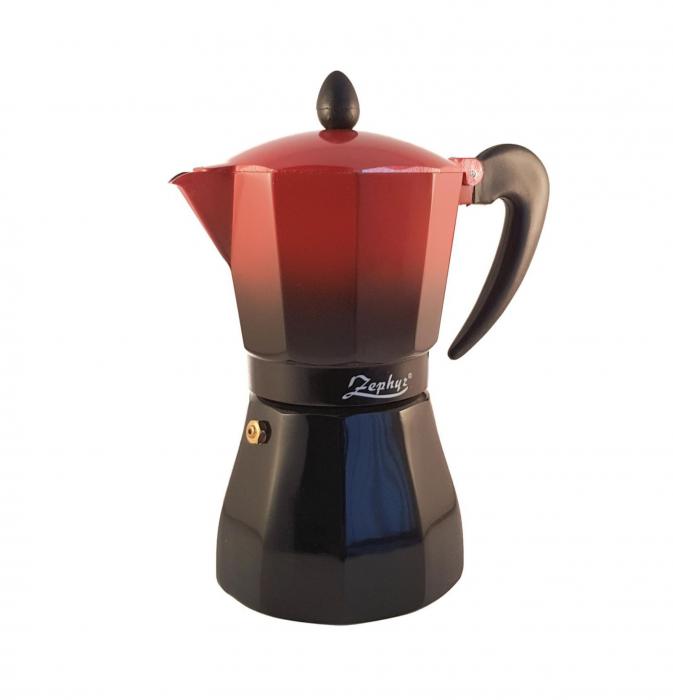Espressor manual pentru aragaz, Rosu cu negru, 6 cesti