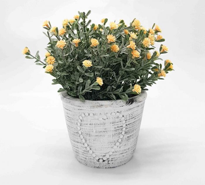 Ghiveci ceramic cu flori artificiale, LOVE, 11 X 17 CM 0