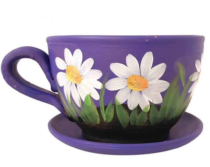 Ghiveci Traditional din Ceramica, pictat manual, codita si farfurie, 13 x 10 CM 0