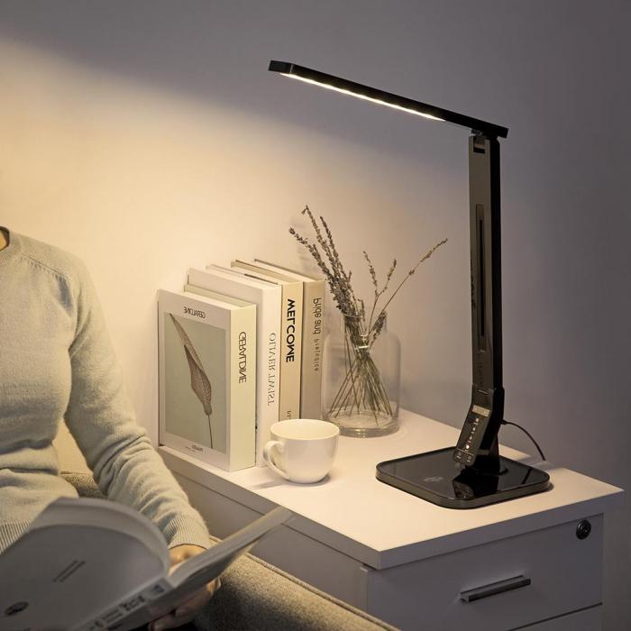 Lampa de birou LED TaoTronics, control Touch, 4 moduri de lumina, 14 W, USB 0