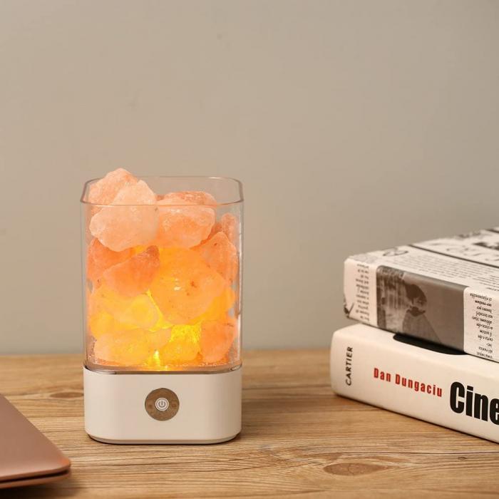 Lampa cu Sare de Himalaya, USB, Alb 0
