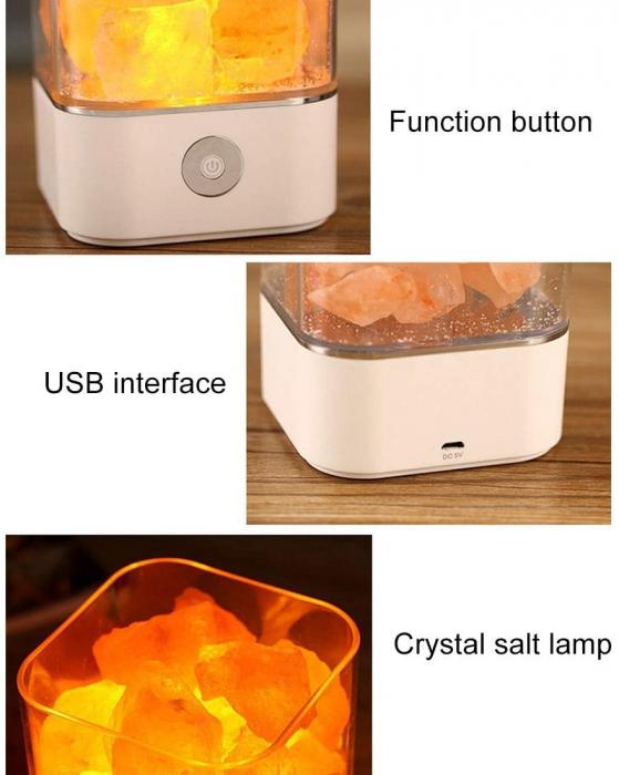 Lampa cu Sare de Himalaya, USB, Alb 2