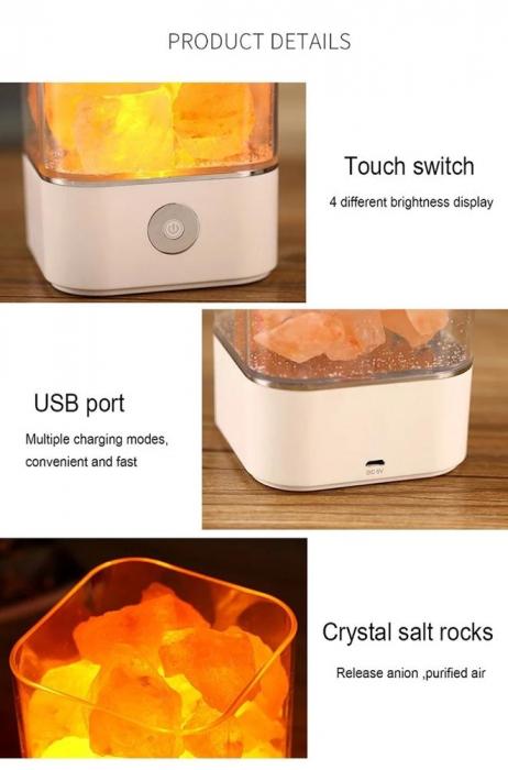 Lampa cu Sare de Himalaya, USB, Negru [5]