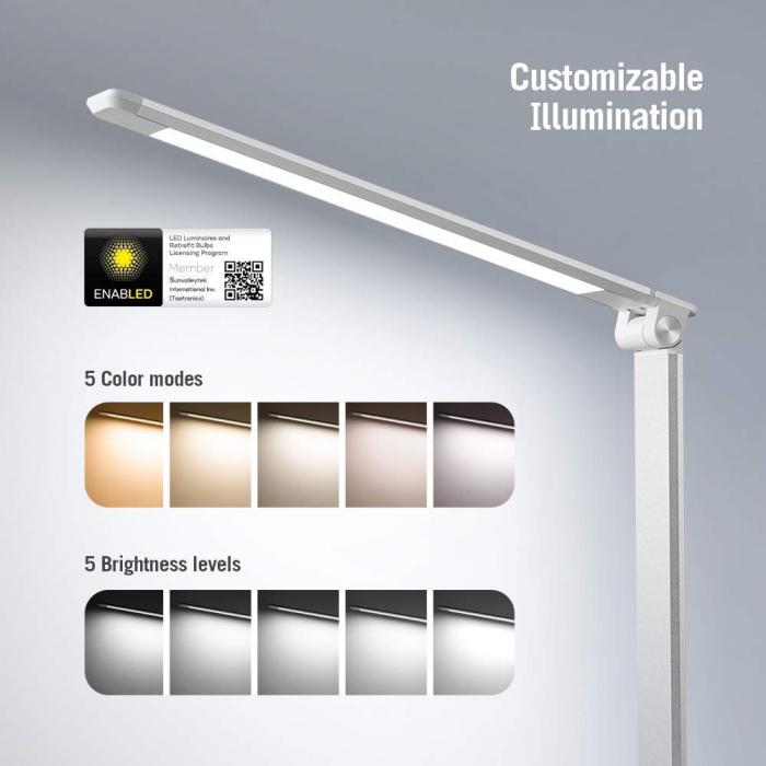 Lampa de birou LED TaoTronics, control Touch, 5 moduri de lumina, 9W, USB 6