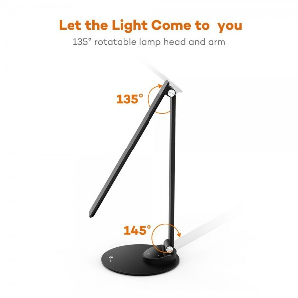 Lampa de birou LED TaoTronics, control Touch, 5 moduri de lumina, 9W, USB, Black 5