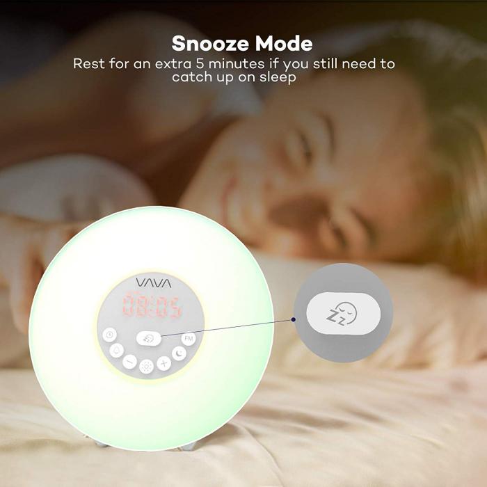 Lampa de Veghe 7 culori LED, cu Radio FM si Ceas cu alarma, Meniu Touch 4