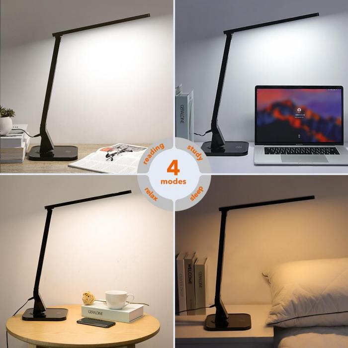 Lampa de birou LED TaoTronics, control Touch, 4 moduri de lumina, 14 W, USB 4
