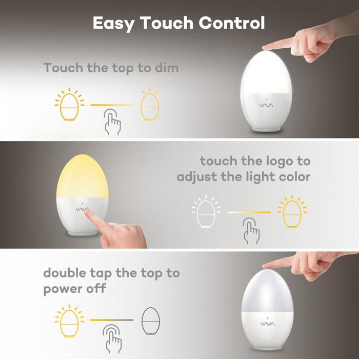 Lampa de Veghe Smart LED VAVA, lumina calda si rece, reglare Touch 1