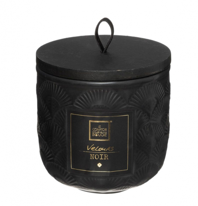 Lumanare parfumata FLOWER, cu pahar ceramic si capac, 190g, Negru 0