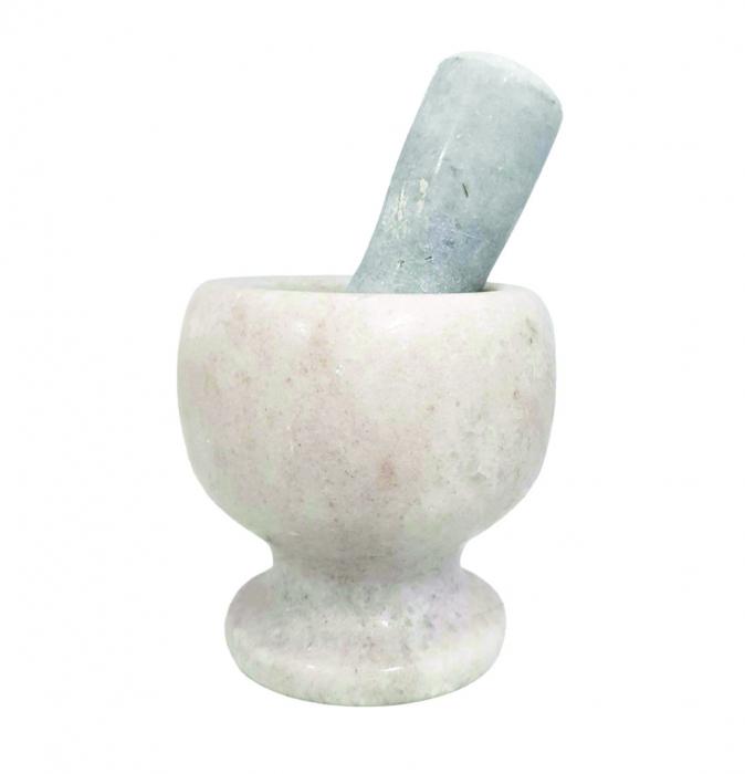Mojar si Pistil din Marmura, Alb cu Gri, 10 x 11 cm 0