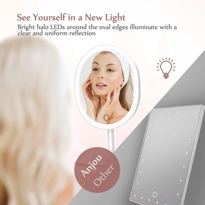 Oglinda cosmetica Anjou, iluminare reglabila LED, touch control, acumulator reincarcabil USB 3