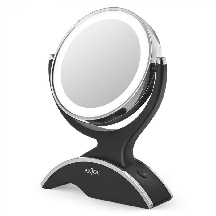 Oglinda cosmetica Anjou, iluminare LED, 2 fete, marire 7X 0
