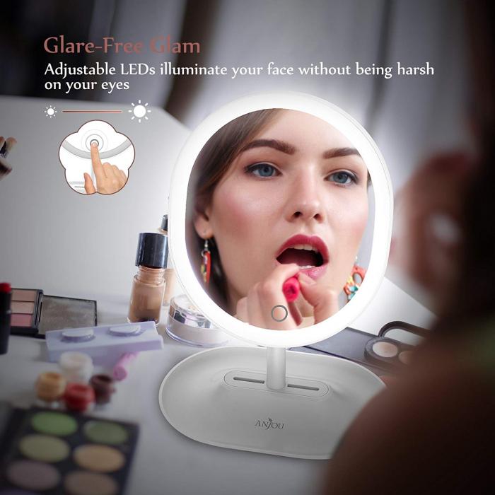 Oglinda cosmetica Anjou, iluminare reglabila LED, touch control, acumulator reincarcabil USB 1