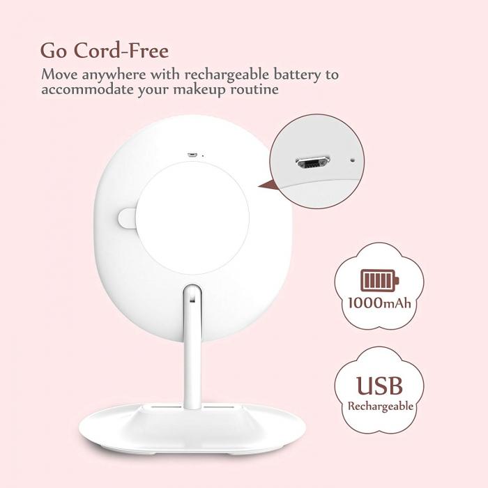 Oglinda cosmetica Anjou, iluminare reglabila LED, touch control, acumulator reincarcabil USB 4