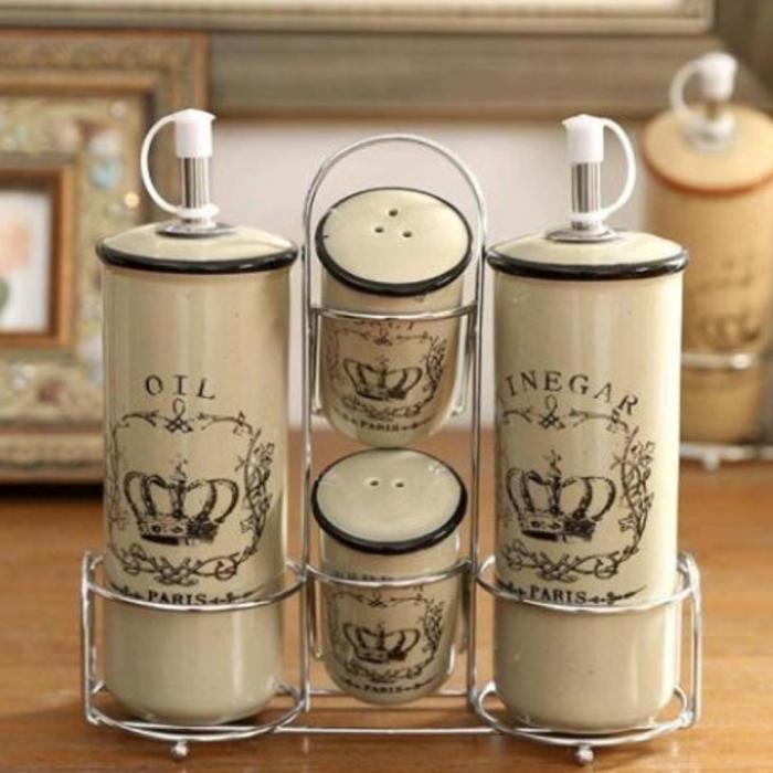 Set Oliviera Paris 4 piese ceramica si suport metalic, Alb 0