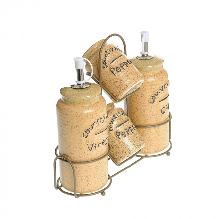Set Oliviera 4 piese ceramica cu suport metalic, Maro, Country Home 0