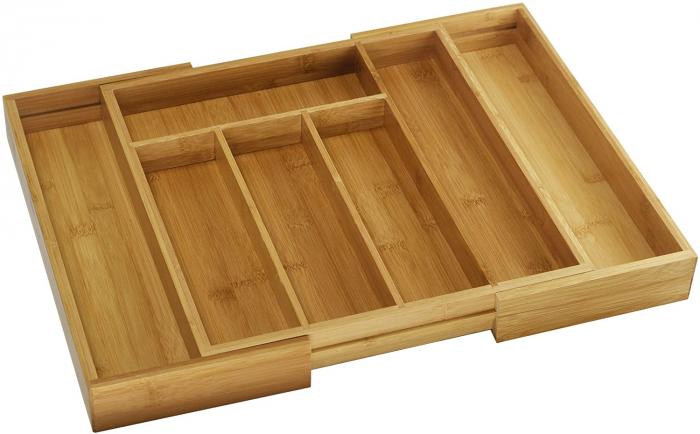 Set Organizator extensibil 25.5 x 35.5 x 5.5 cm si 3 Tocatoare din Bambus 3