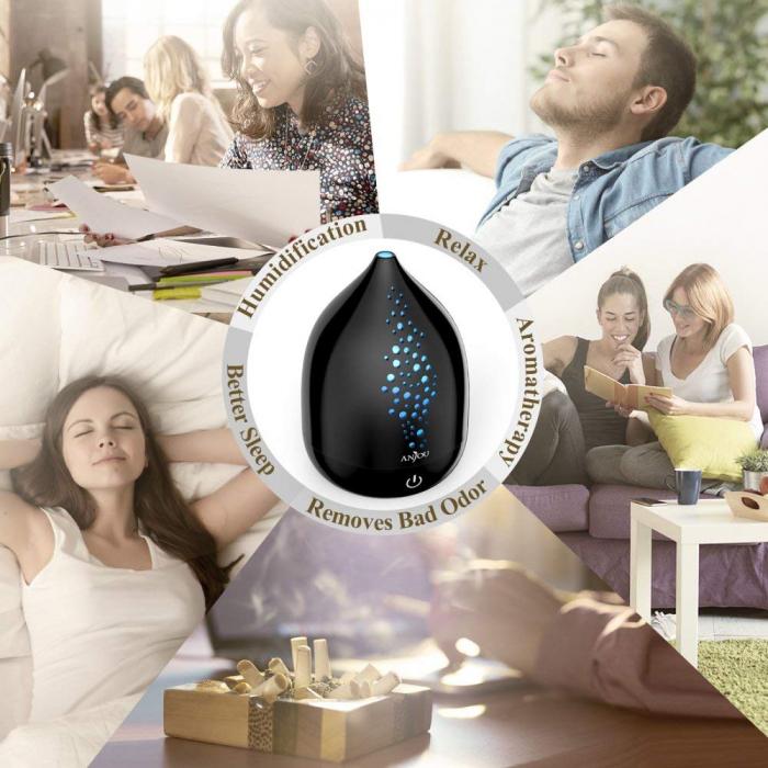 Pachet complet Aromaterapie, Difuzor cu ultrasunete si Set 6 uleiuri esentiale 7