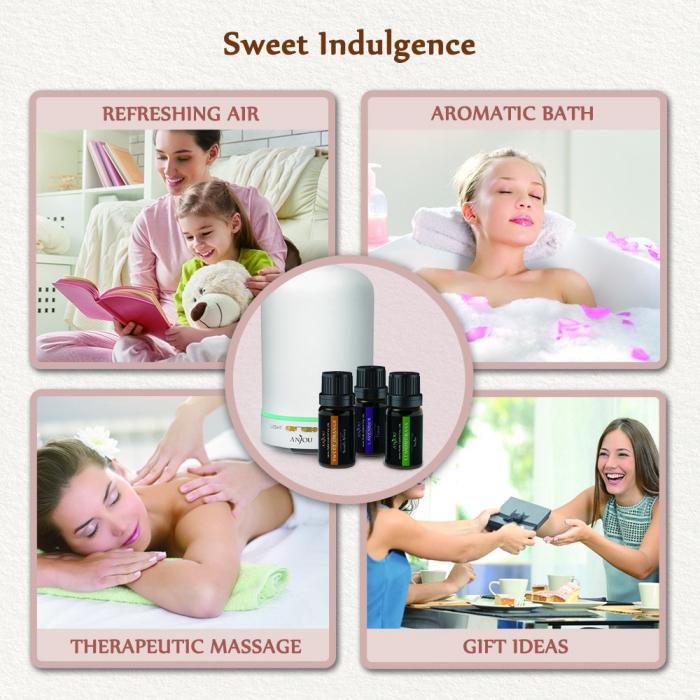 Pachet complet Aromaterapie, Difuzor cu ultrasunete si Set 6 uleiuri esentiale 5