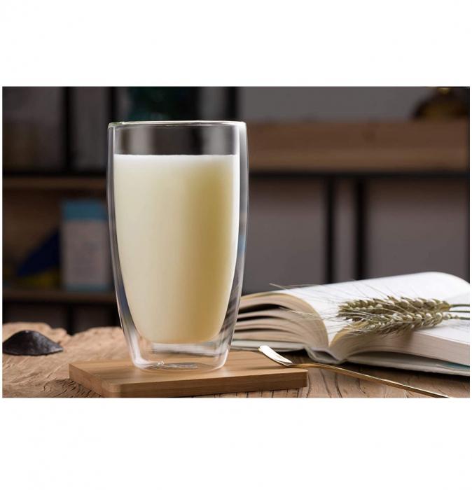Pahar 370 ml din sticla Borosilicata cu pereti dubli [4]
