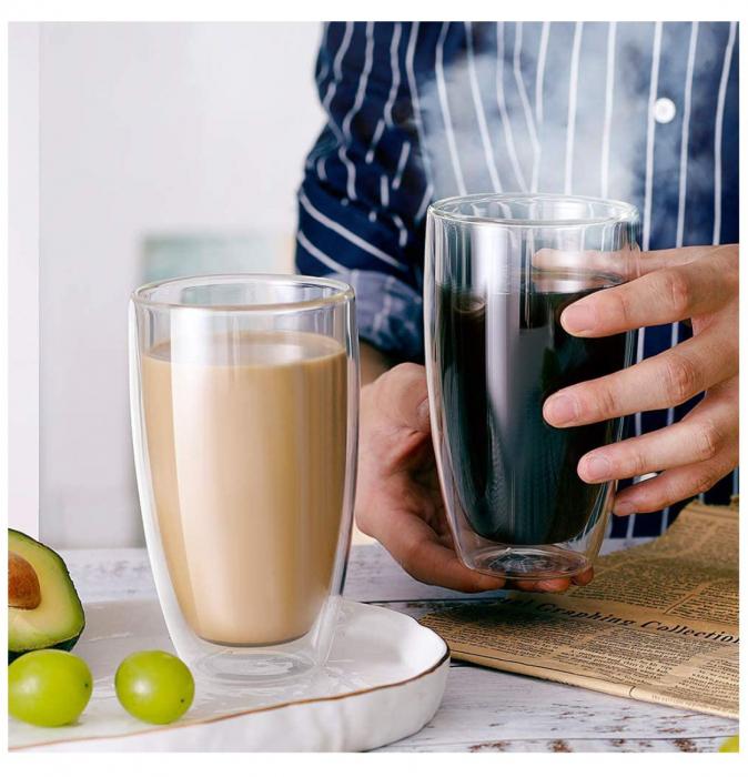 Set 2 Pahare 370 ml din sticla Borosilicata cu pereti dubli [3]