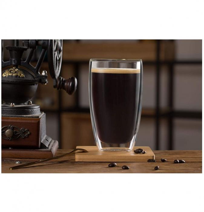 Set 2 Pahare 370 ml din sticla Borosilicata cu pereti dubli [1]