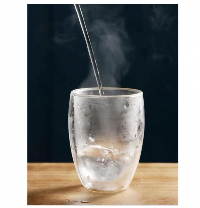 Set 4 Pahare din sticla Borosilicata cu pereti dubli, 350 ml x 4 2