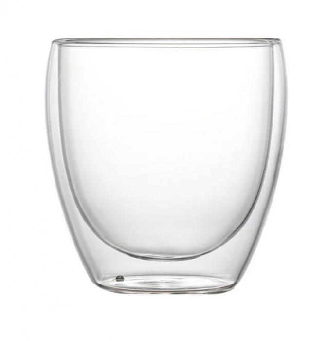 Pahar din sticla Borosilicata cu pereti dubli, 250 ml 0