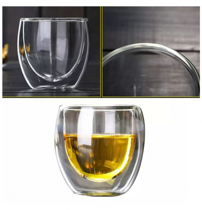 Pahar din sticla Borosilicata cu pereti dubli, 250 ml 1