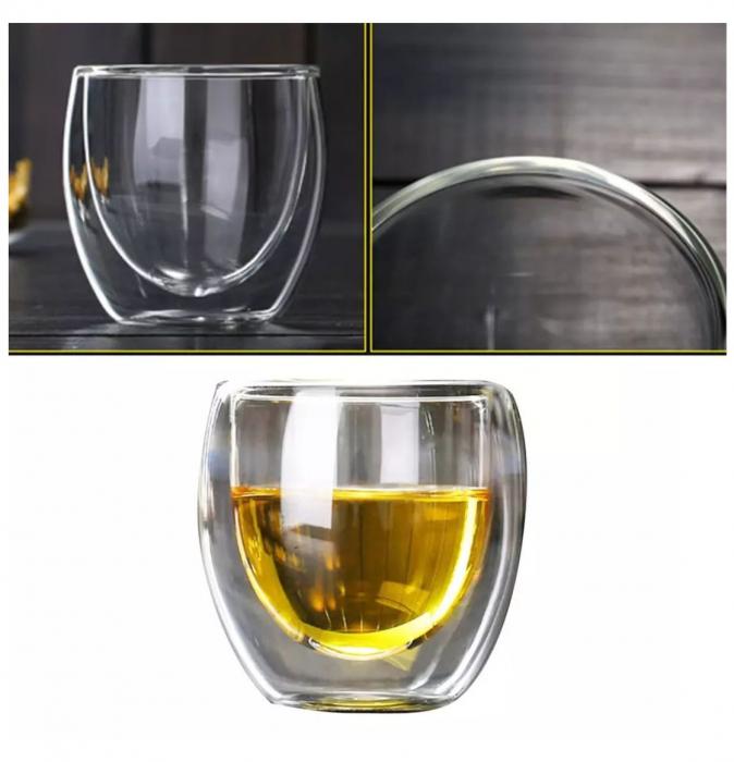 Set 4 Pahare din sticla Borosilicata cu pereti dubli, 250 ml x 4 2