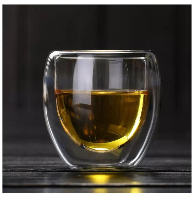Pahar din sticla Borosilicata cu pereti dubli, 250 ml 2