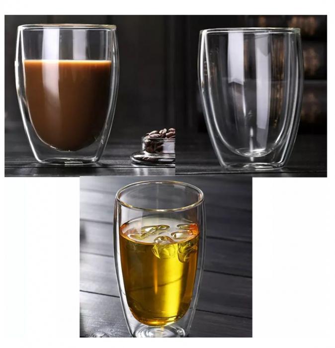 Set 4 Pahare din sticla Borosilicata cu pereti dubli, 350 ml x 4 1