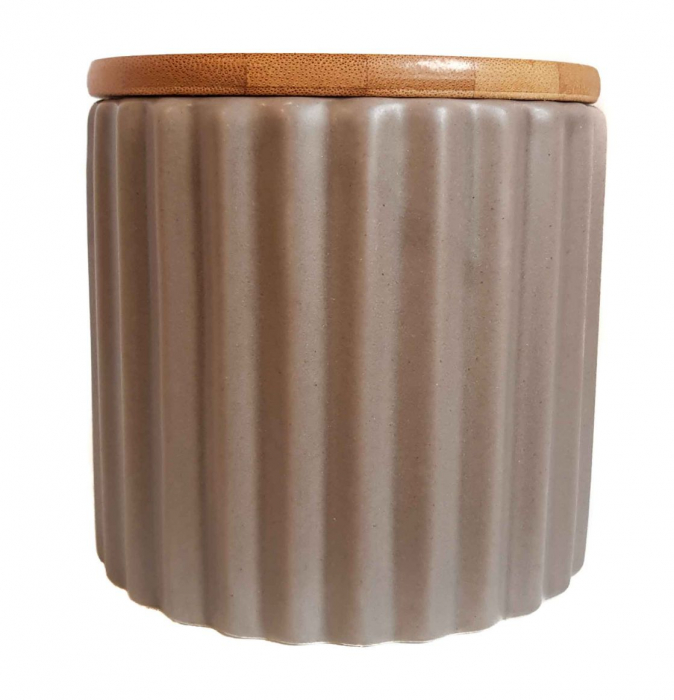 Set 3 recipiente din ceramică cu capac din bambus CREM 1