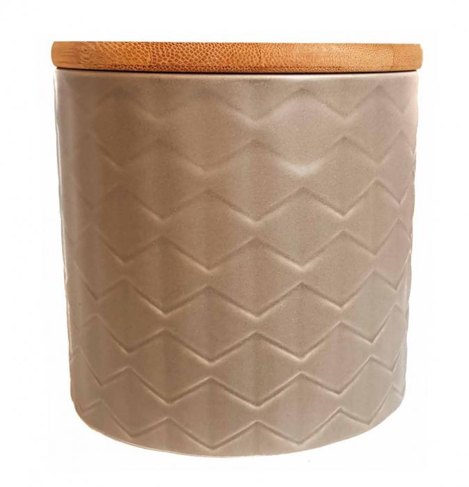 Set 3 recipiente din ceramică cu capac din bambus CREM 2